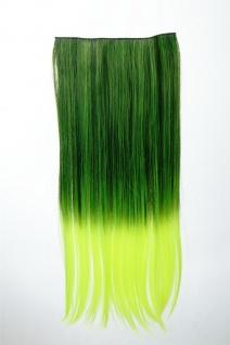 Extension Haarverlängerung Clip-In 5 Clip glatt zweifarbig Ombre Grün 60cm lang