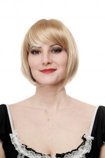 Damen Perücke Wig Bob heller blond-mix gesträhnt kurz Haarersatz 25 cm 703-27T88