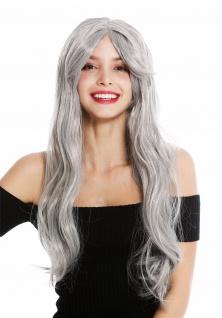 Perücke Damen Karneval Halloween lang glatt hell Grau Oma alt Hippie 90924-ZA68E - Vorschau 2