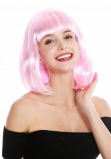 Perücke Damenperücke schulterlang Longbob Bob glatt Pony Hellrosa Rosa Pink 0073