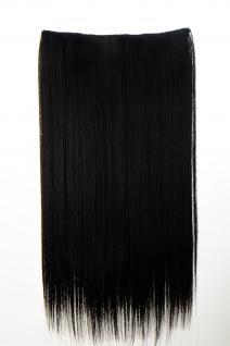 Haarteil Haarverlängerung breit 5 Clips dicht glatt Schwarzbraun 60 cm L30172-2