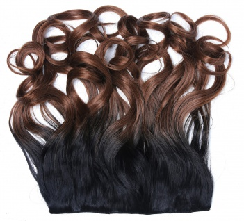 Clip-in Extension Haarverlängerung breit gelockt Locken Ombre Schwarz Braun