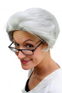Oma Perücke grau Scheitelwelle Großmutter Opa Großvater Unisex Fasching PW0206