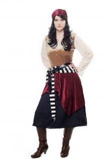 Kostüm Damen Damenkostüm Set Piratin Piratenbraut Freibeuterin L049