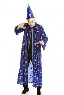 Kostüm Herren Männer Robe Umhang Hut Zauberer Magier Wizard Gr. S/M M-0132
