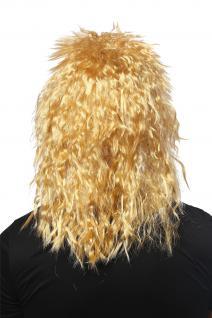 Perücke Damen Herren Karneval Wilde Kink-Locken Löwe Proll Vokuhila Hell-Blond - Vorschau 2