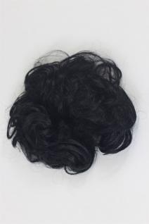 Haarteil Kunsthaar Scrunchy Haarband Haargummi Pferdeschwanz Schwarz YZF-3054A-1