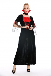 Kostüm Damen Frauen Halloween Böse Fee Vampirin Kleid lang schwarz rot Gr. M