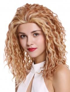 Perücke Damenperücke Echthaar lang Lace-Front Locken Blond mit Kupferbraun 45cm