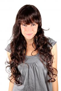 Damen Perücke braun brünett sehr lang gewellt Pony Locken ca. 70cm Wig 4306-2T33