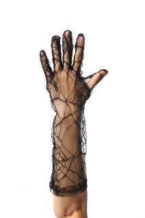 Handschuhe Damen Spitze Schwarz Halloween Spinnennetz Spinne Gothic Vampir Hexe