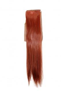Haarteil ZOPF Rost-Rot glatt 45cm YZF-TS18-130 Band Klammer Haarverlängerung