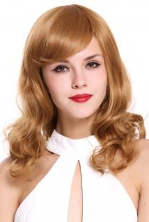 Damen Perücke mittellang Spitzen gelockt Korkenzieherlocken Blond Erdbeerblond