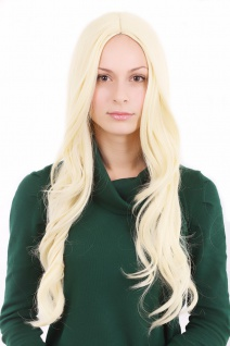 Perücke lang Mittelscheitel Scheitel streng hellblond blond 3256-KB88 ca.60 cm