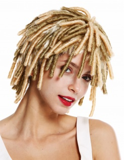 Perücke Damen Herren Karneval Spirallocken Afrolocken kurz Rasta Blond Mix