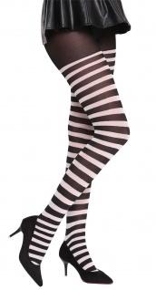 Strumpfhose Pantyhose Halloween Karneval schwarz weiß gestreift Okapi-Knastbraut