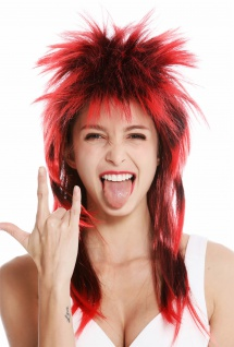 Perücke Karneval Punk Vokuhila Rocker wild 80s Wave toupiert lang schwarz rot