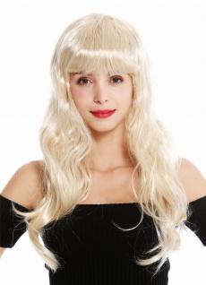 Perücke Damen Karneval lang blond Pony Burlesque 50s Pin-Up Star Femme Fatale