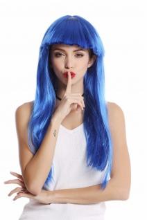 Perücke Damenperücke Karneval Halloween lang glatt Pony blau Disco Glam 1374-PC3
