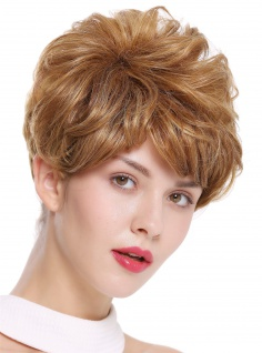 Damenperücke Perücke kurz toupiert voluminös wellig dunkles warmes Blond DW2700