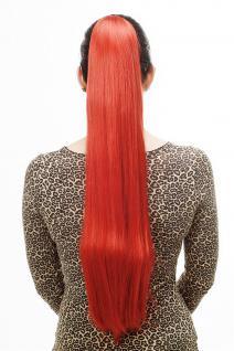 Haarteil/Zopf, sehr lang, glatt, Butterfly-Klammer, 70cm, Leuchtend Rot, T113-137
