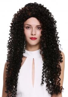 Damenperücke Perücke Lang Locken lockig Afro Karibik Style schwarz kupferbraun