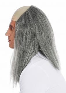Perücke Karneval Halloween Herren Stirnglatze Halbglatze lang graue Haare Igor - Vorschau 3