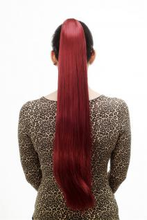 Haarteil/Zopf, sehr lang, glatt, Butterfly-Klammer, 70cm, Aubergine-Rot, T113-39