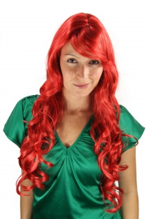 Perücke rot Locken lang Seitenscheitel knallrot feuriges rot 9204S-137 70cm wig
