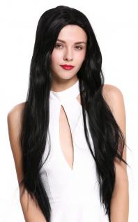 Damen Perücke Lace-Front sehr lang glatt Teil-Monofilament schwarzbraun 80cm