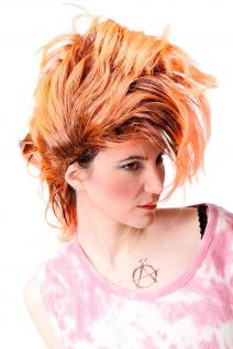 Perücke Faschingsperücke Karneval Punk Glam Vamp Iro Auftoupiert Schwarz Orange