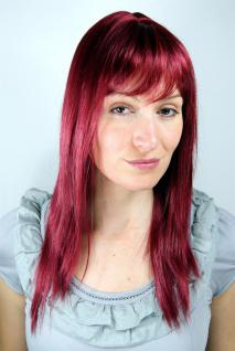 Sexy Damen Perücke Aubergine-rot langes glattes stufiges Haar LA032-39 ca.50cm