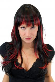Perücke, Wig, Schwarz/Rot, Glatt, Strähnen, Länge: ca. 60 cm, GFW824-131Y