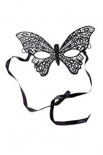 Maske Halbmaske Augenmaske Schmetterling Vampir Elf Gothic Schwarz Spitze AE019A