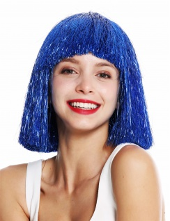 Perücke Damenperücke glatt Pony schulterlang blau Lametta Tinsel Glitter VK-42