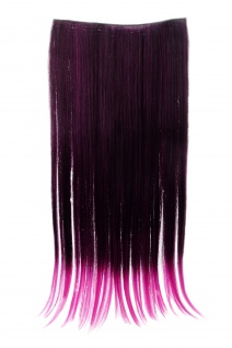 Haarteil breit Haarverlängerung 5 Clips glatt zweifarbig Schwarz-Lila-Mix