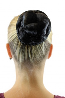 Haarteil aufwendig geflochten Zopf Dutt Haarknoten Tracht Schwarz JL-3123S-2