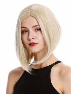 Perücke Damen Frauen Cosplay kurz schulterlang Longbob Mittelscheitel Blond Mix