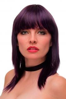 Damen Perücke Pony schulterlang glatt dunkle Lila Violett Blau Mischung GF-W2203