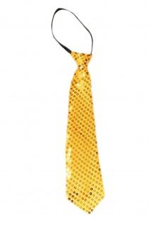 Krawatte Fasching Karneval Revue Cabaret Pailletten breit Gold VQ-020-GOLD