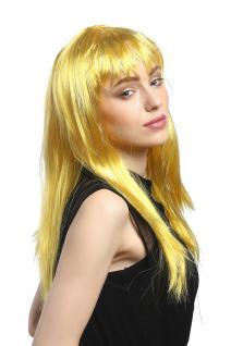 Perücke Karneval Fasching Damen lang glatt Pony gelb Glitter Strähnen XR-003 - Vorschau 4