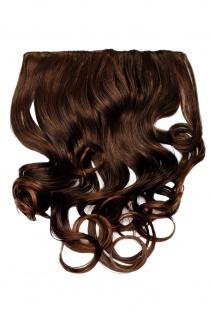 Clip-In Extension Haarverlängerung breit Hinterkopf 5 Clip lockig braun Mahagoni