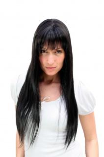 Perücke schwarz SEXY & DOMINANT lange und glatt fallende Haare mit Pony 9293-2