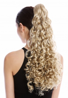 Haarteil Zopf Pferdeschwanz lang voluminös stark gelockt lockig Hellblond Blond