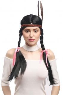 Perücke Damen Karneval Schwarz Indianer Indianerin Zöpfe Stirnband Feder 60 cm