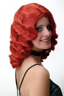 Damen Perücke Wasserwelle Classic Hollywood Diva gewellt lang Volumen feurig Rot - Vorschau 3