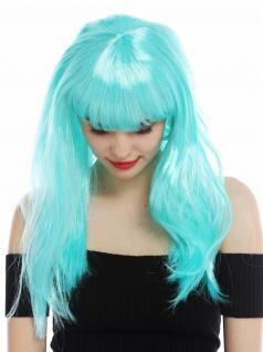 Perücke Karneval Damen lang glatt Pony weiß blau hellblau Perrücke Frau - Vorschau 5