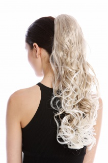 Haarteil Zopf Pferdeschwanz lang Locken Wetlook strähnig Blond Gesträhnt 55 cm