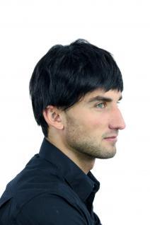 Perücke Herrenperücke Männer kurz schwarz glatt K-006-1B Perrücke - Vorschau 2