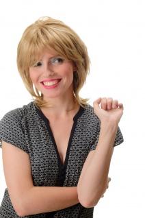 Damenperücke Perücke Kurzhaarfrisur kurz Blond gesträhnt toupiert voluminös